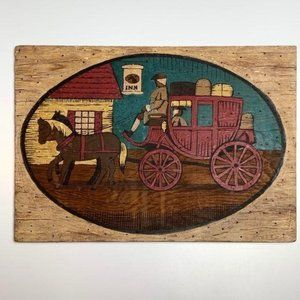 Colonial inspired vintage wood hand-painted coach